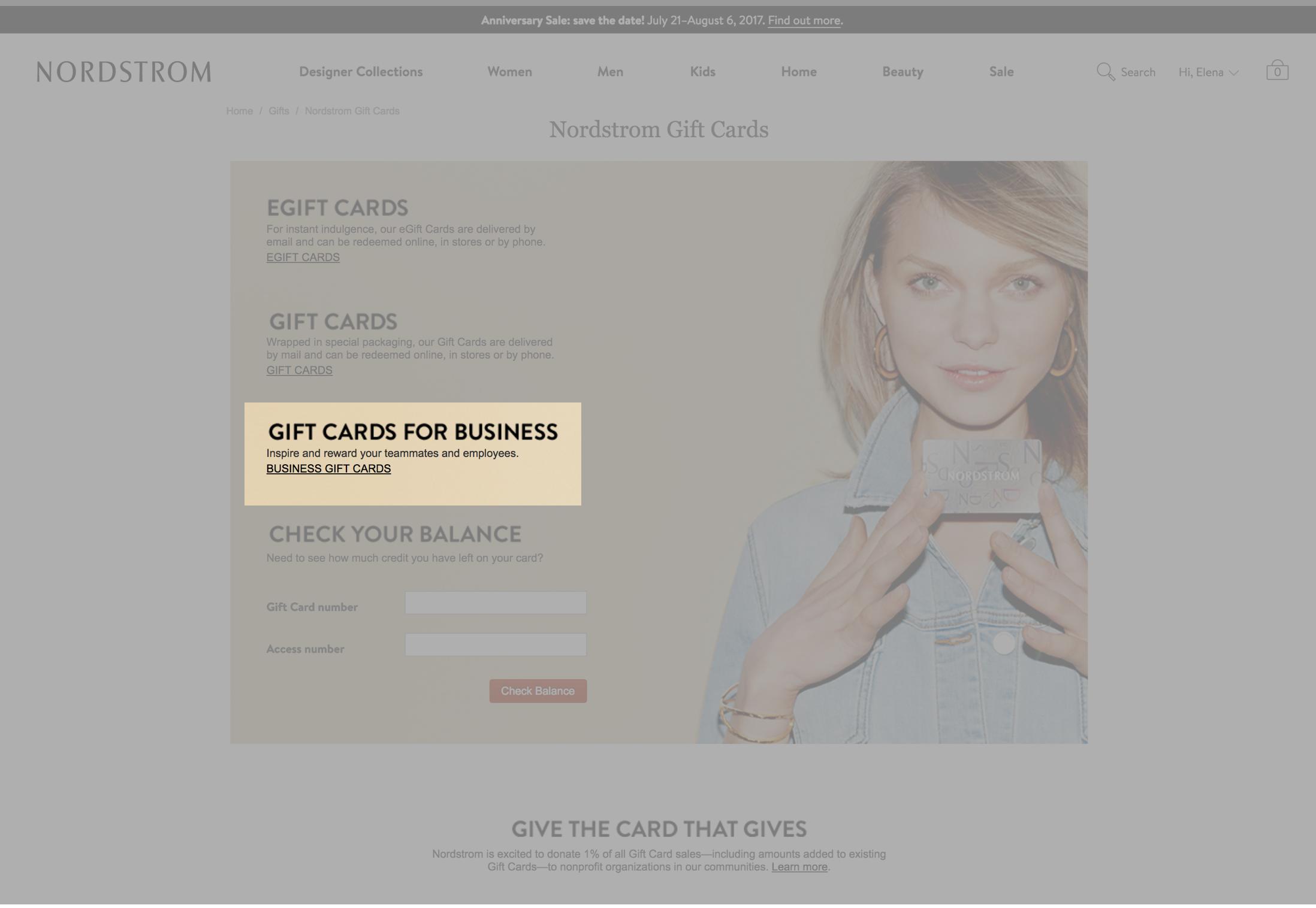 B2B gift card landing page
