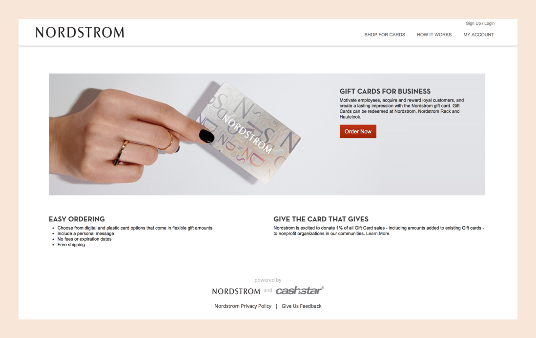 Business gift card landing page